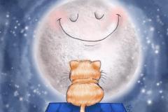 Gato naranja y la luna