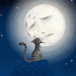 El gato y la luna (gris)